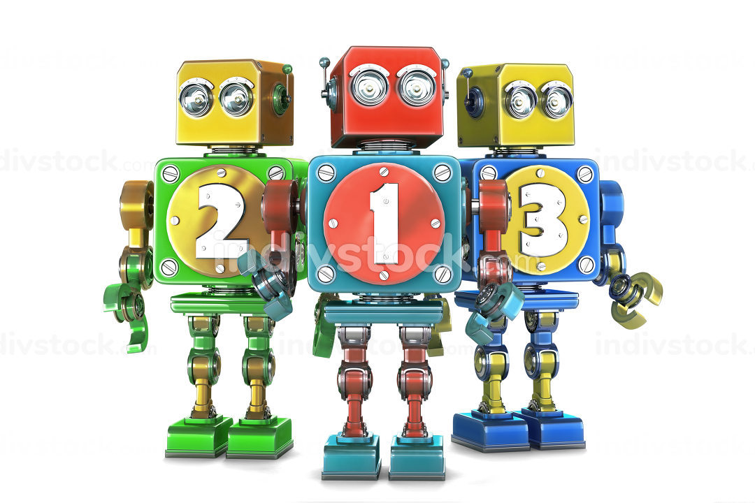 ?olorful 123 numbers sign on retro robots. Isolated. Contains cl