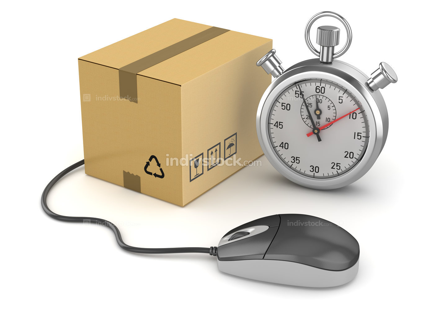 Online Shopping Concept with Stopwatch