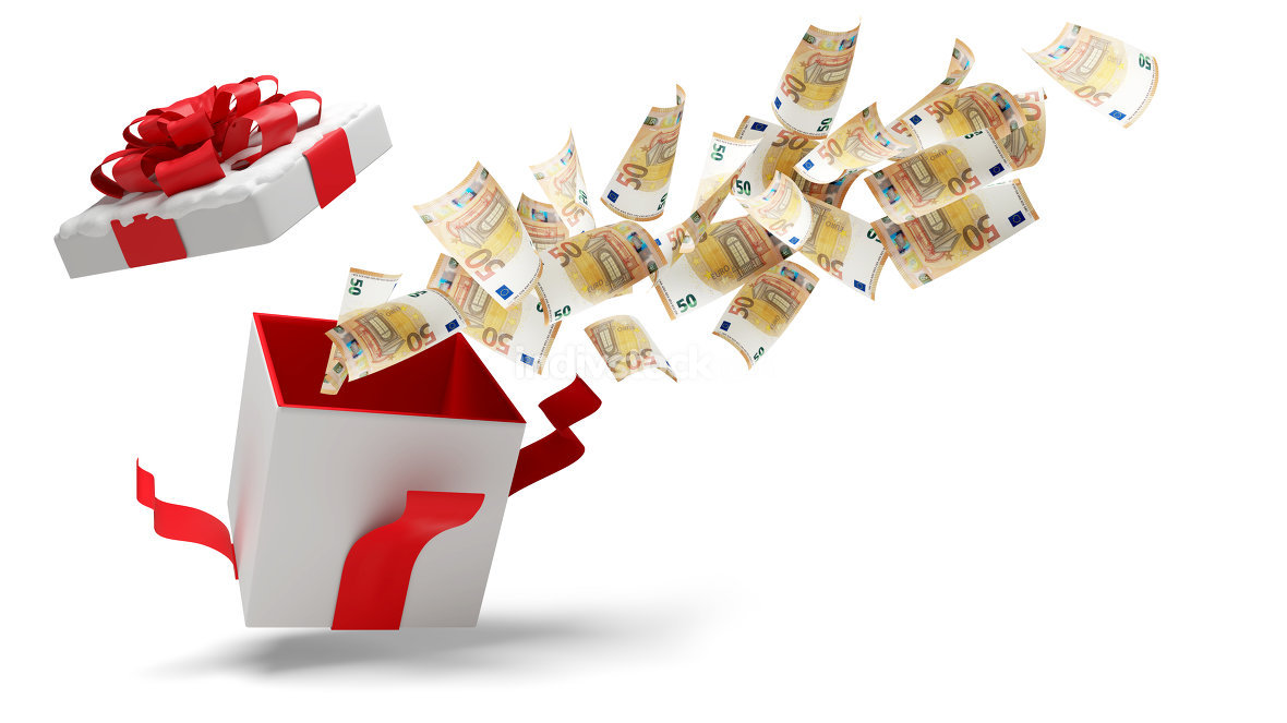 open christmas present with snow and 50 euro banknotes 3d-illust