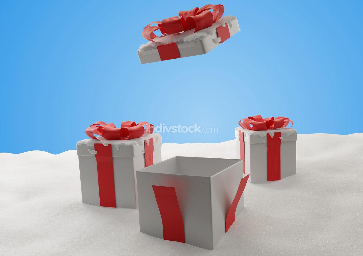 open Christmas presents 3d-illustration