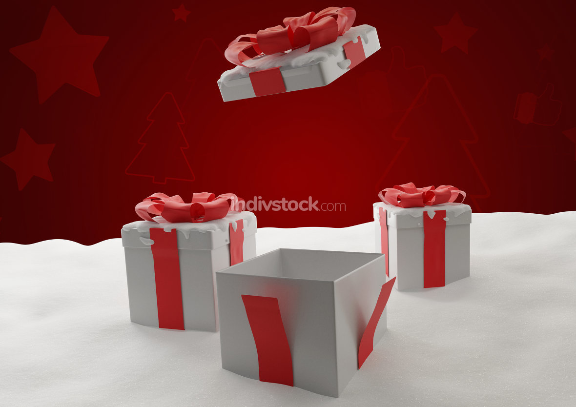 open Christmas presents 3d-illustration