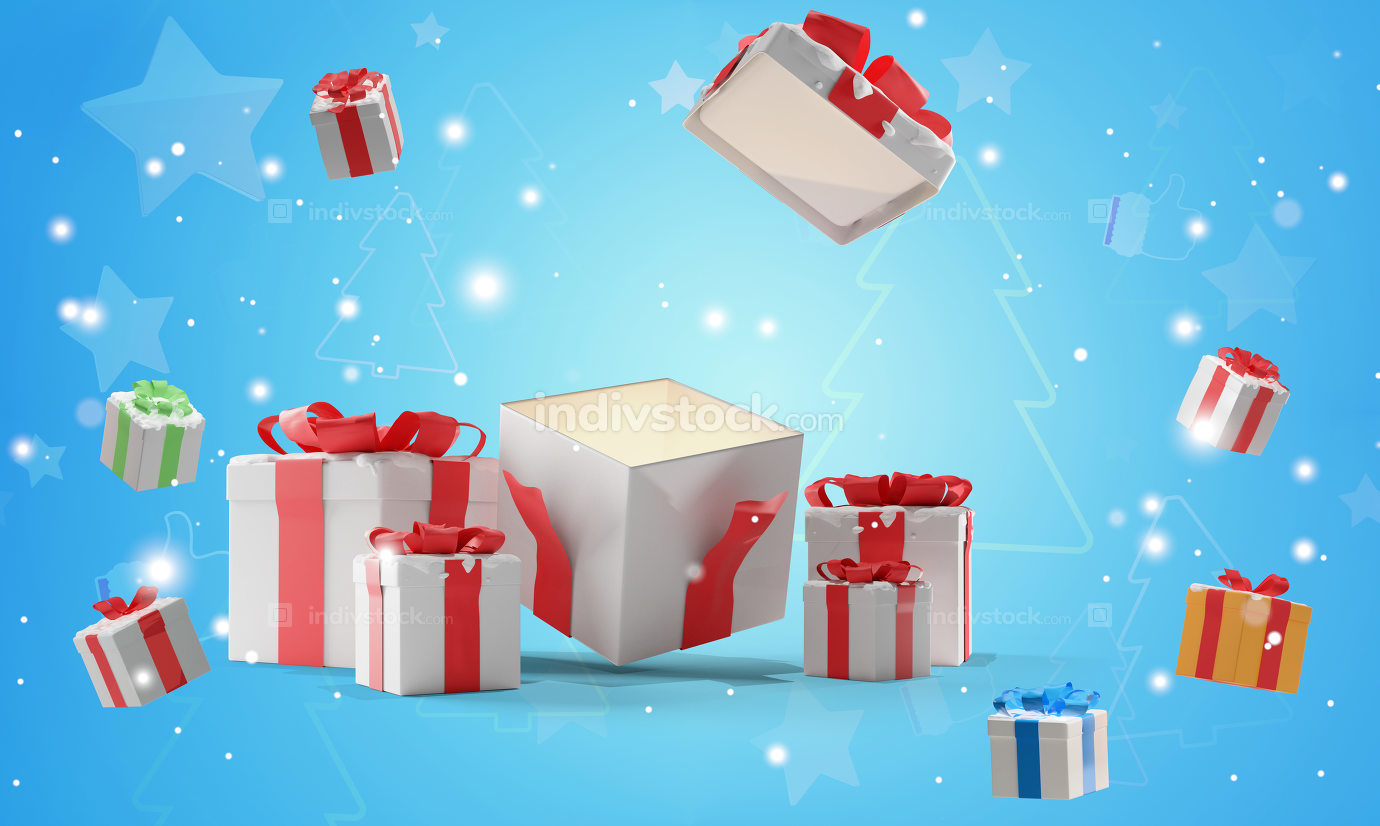 open christmas presents with snow 3d-illustration