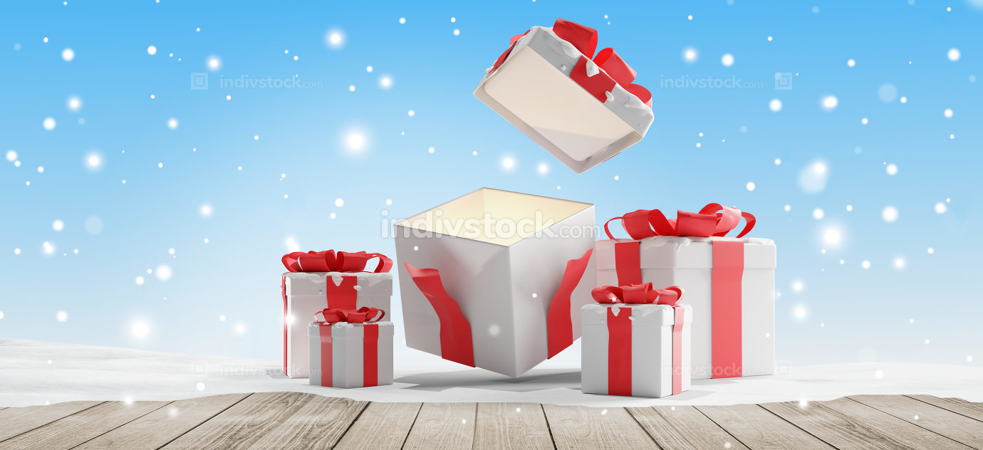 open christmas presents with snow background christmas 3d-illustration