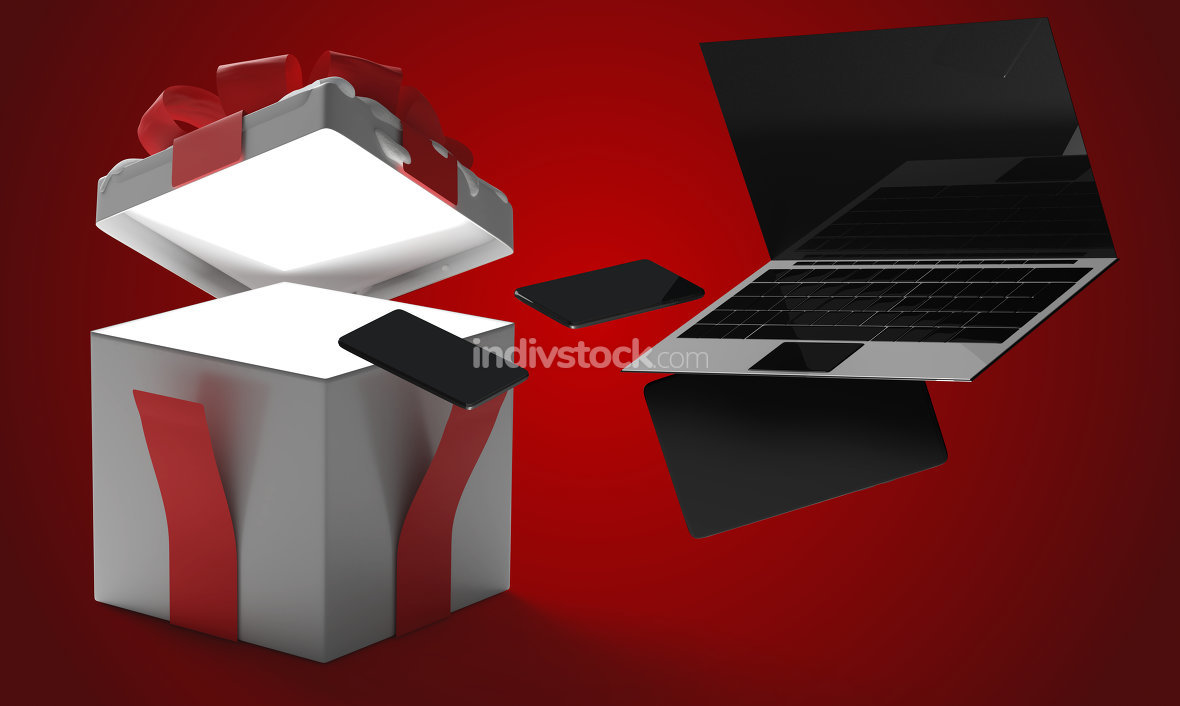 opened christmas present surprise box 3d-illustration christmas
