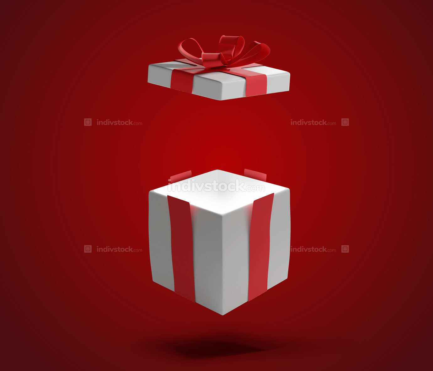 opened present box with shadow on red 3d-illustration