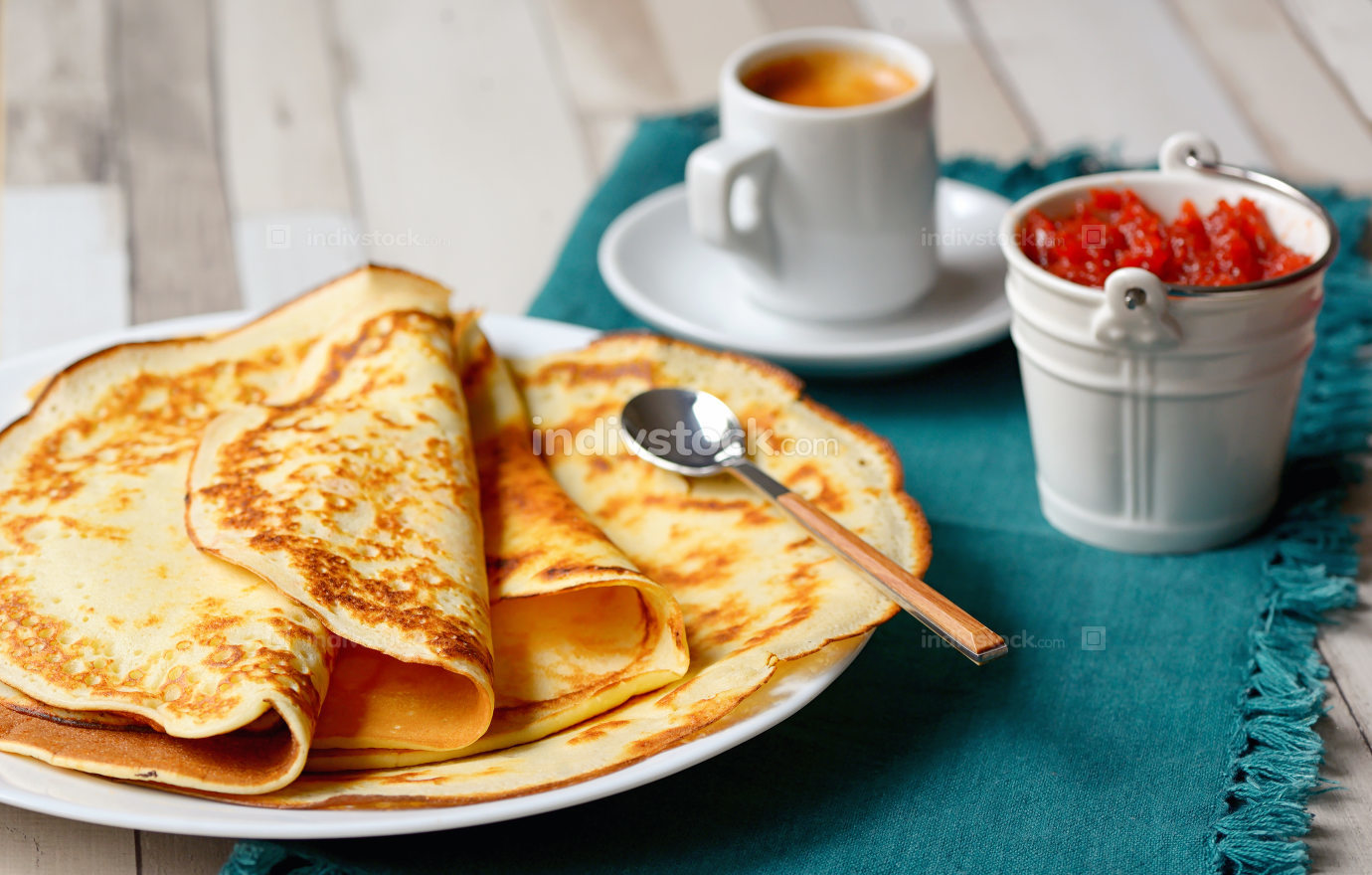 Pancakes with jam and Espresso