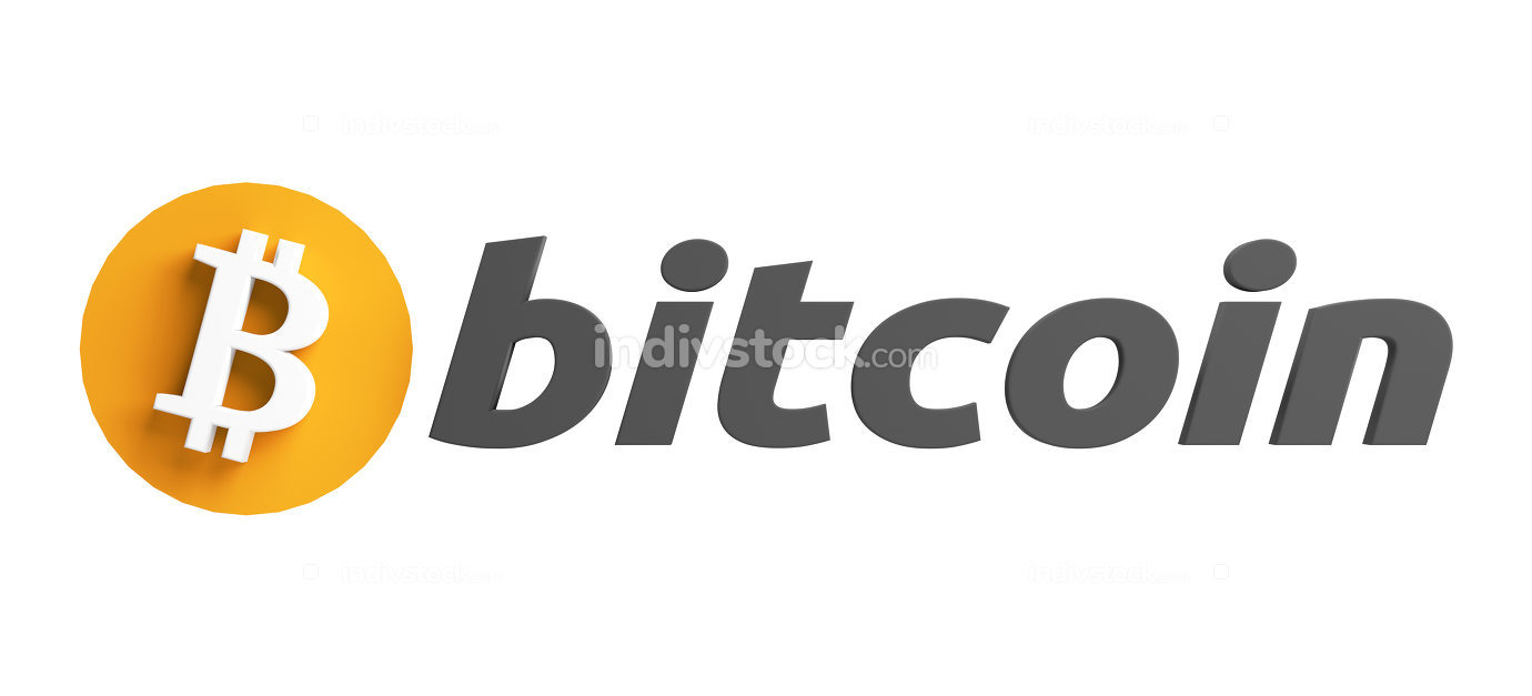 pay with Bitcoin symbol 3d rendering design