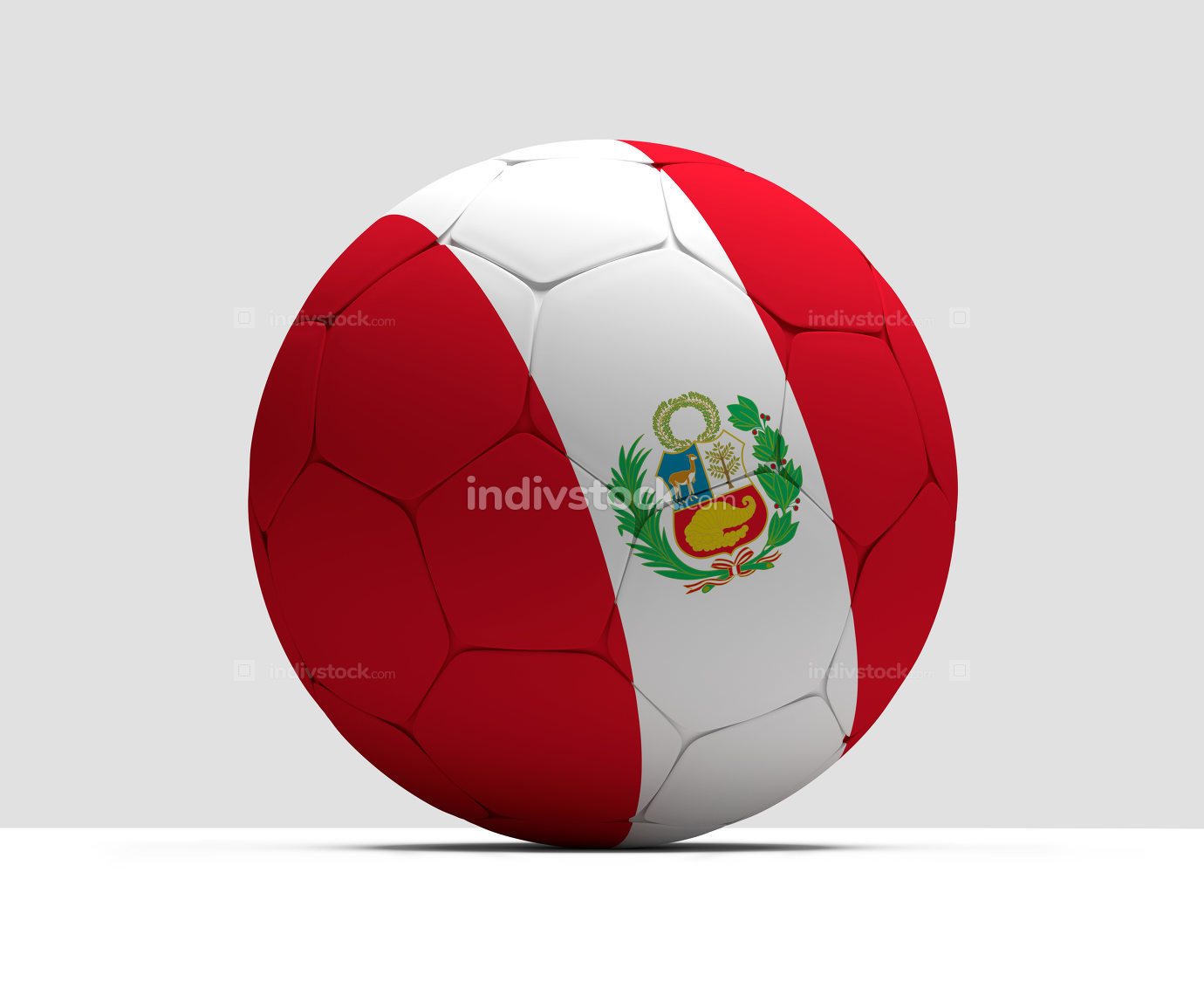 Peru soccer football ball 3D Rendering
