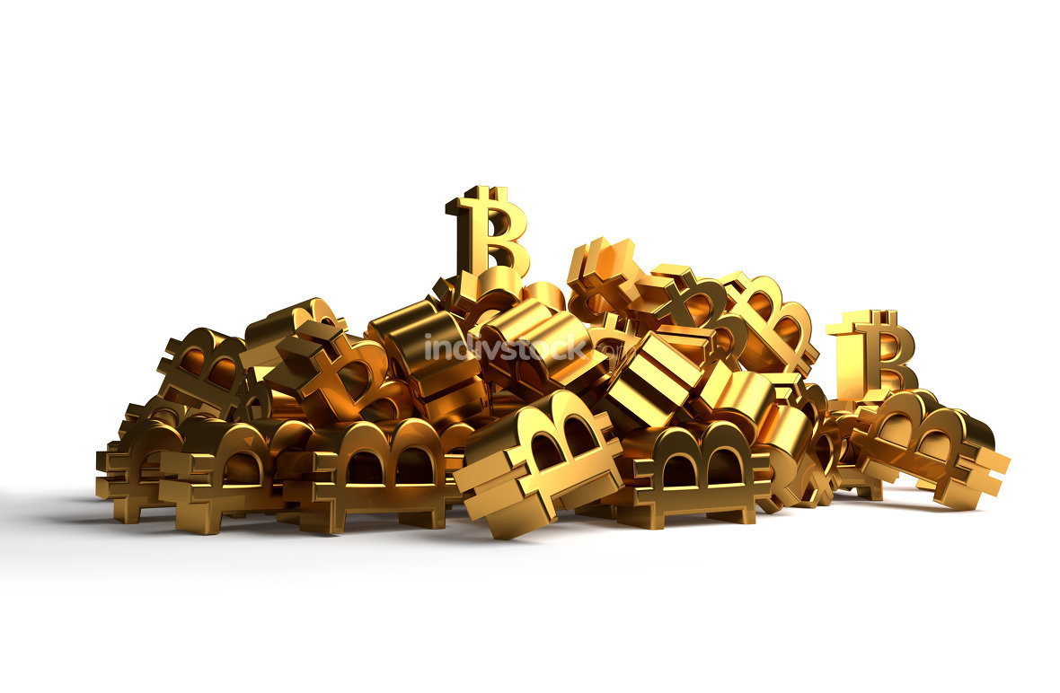 pile of Bitcoins golden 3d rendering symbol icon