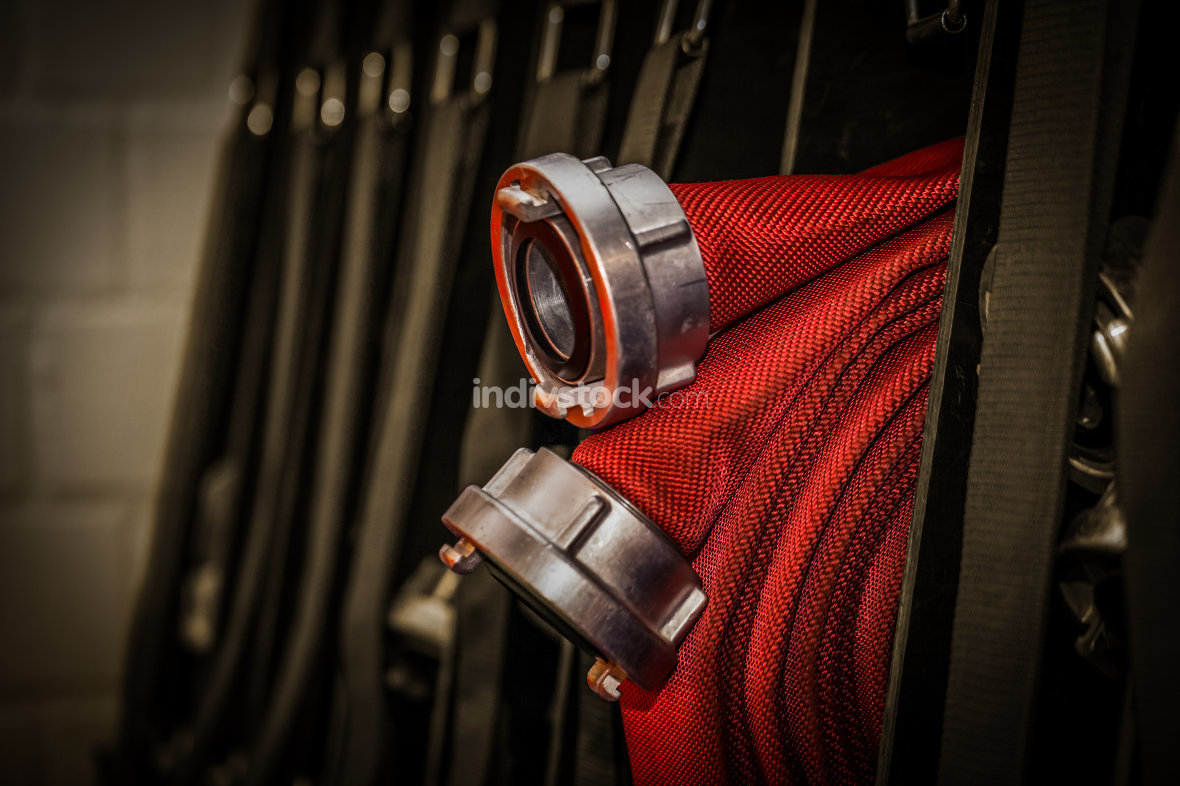 Professional fire hose from the fire brigade - HDR