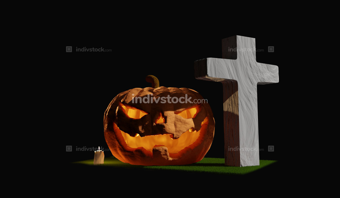 pumpkin grass grave candle 3d-illustration