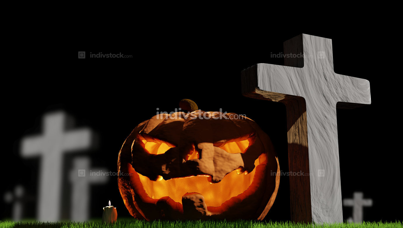 pumpkin Halloween grass at cemetery 3d-illustration