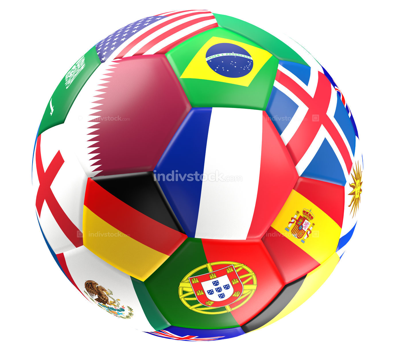 Qatar and France and more flags design soccer ball isolated 3d r