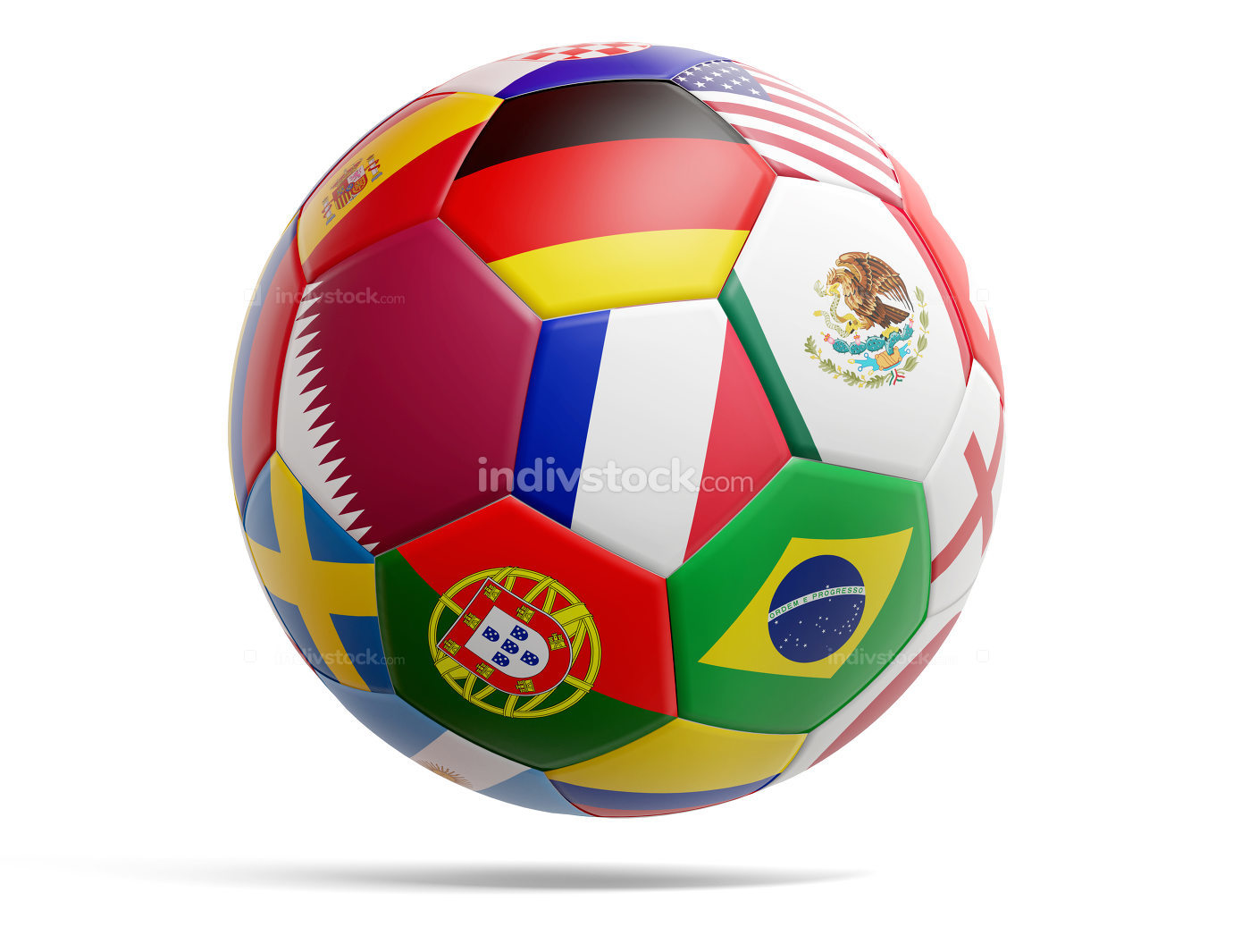 Qatar design soccer football ball with flags of Qatar and variou