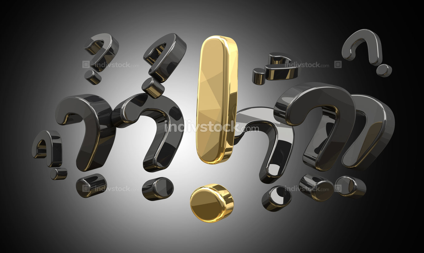 question marks and golden exclamation mark 3d rendering