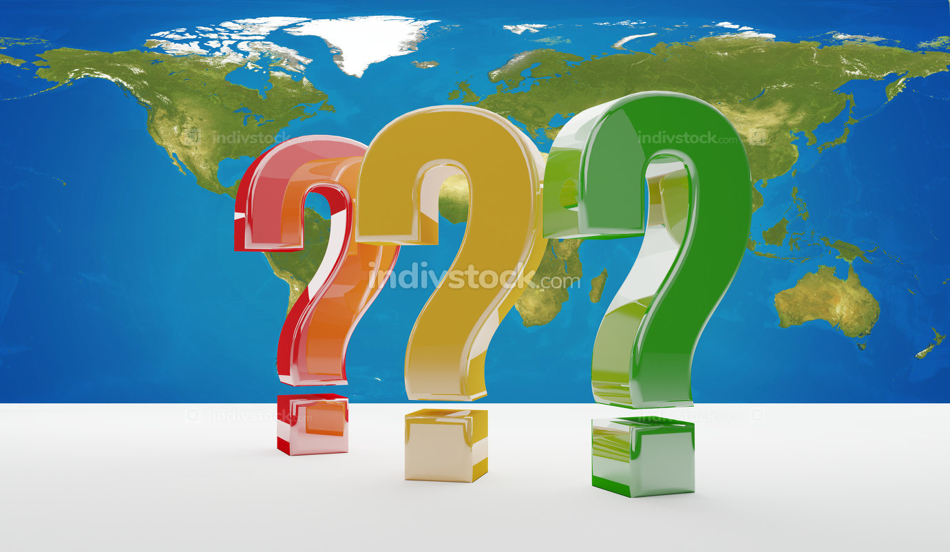 questions marks 3d-illustration world map. elements of this imag