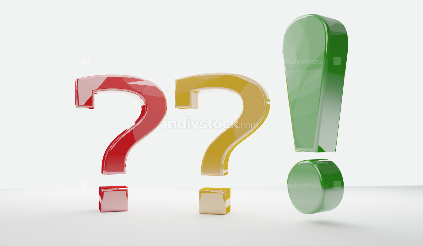 questions marks exclamation mark 3d-illustration