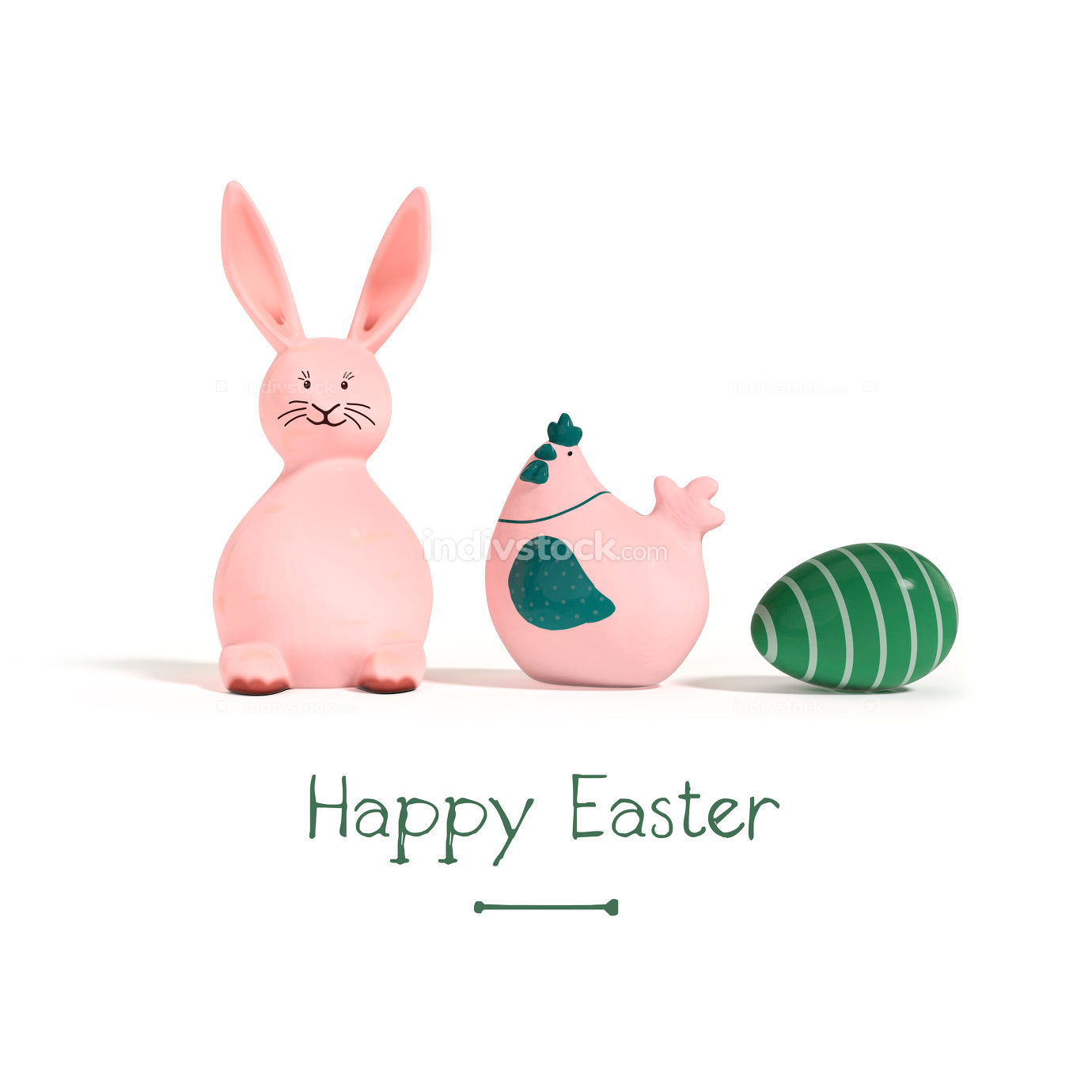 rabbit chicken and egg easter decoration 3d illustration