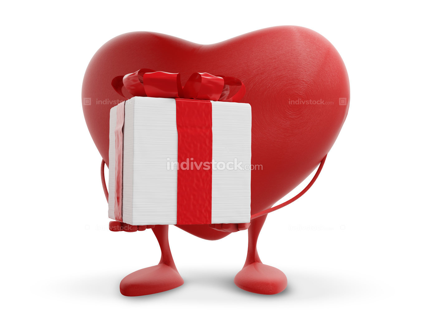 red heart holding a present 3d-illustration
