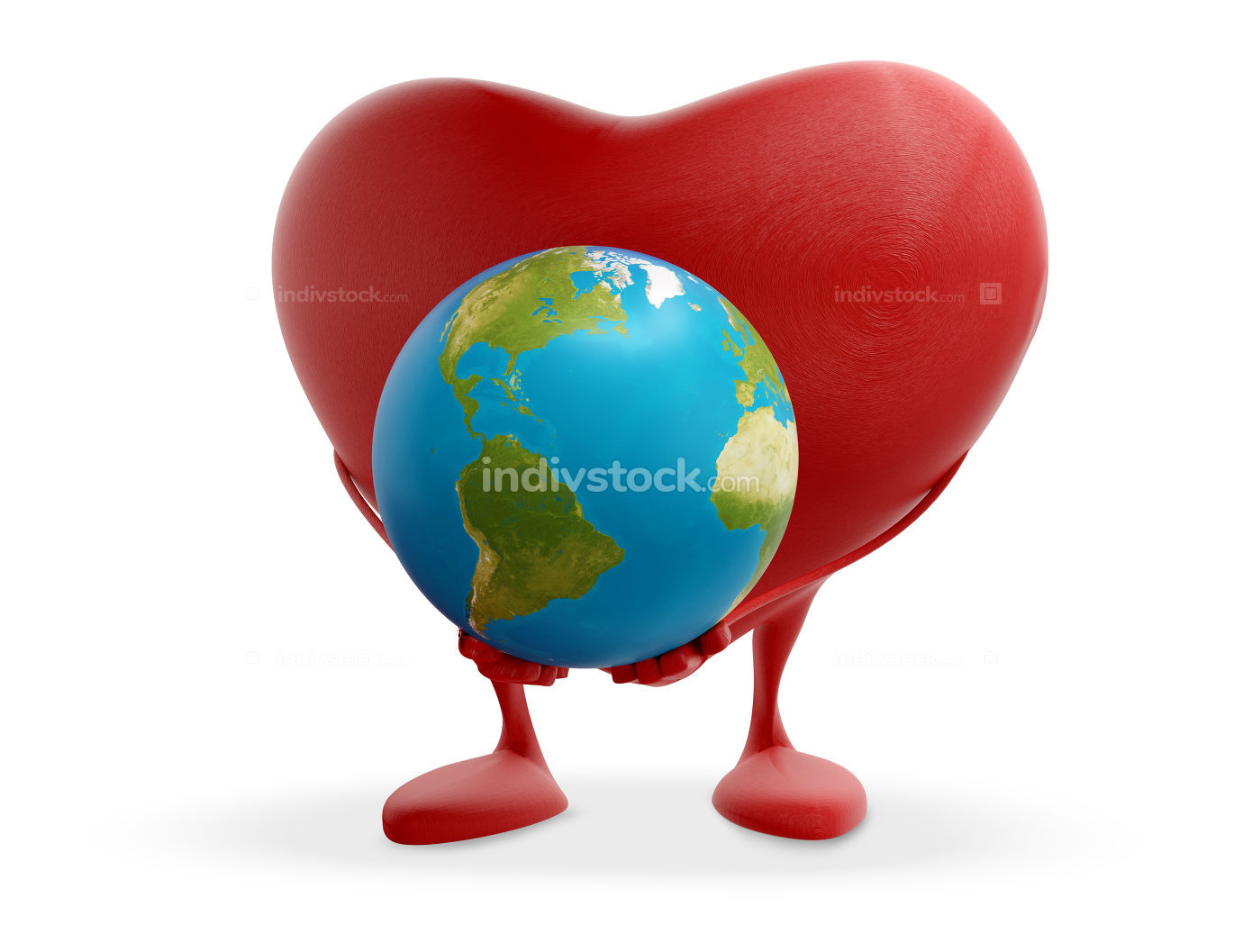 red heart holding planet earth globe 3d-illustration elements of this image furnished by NASA
