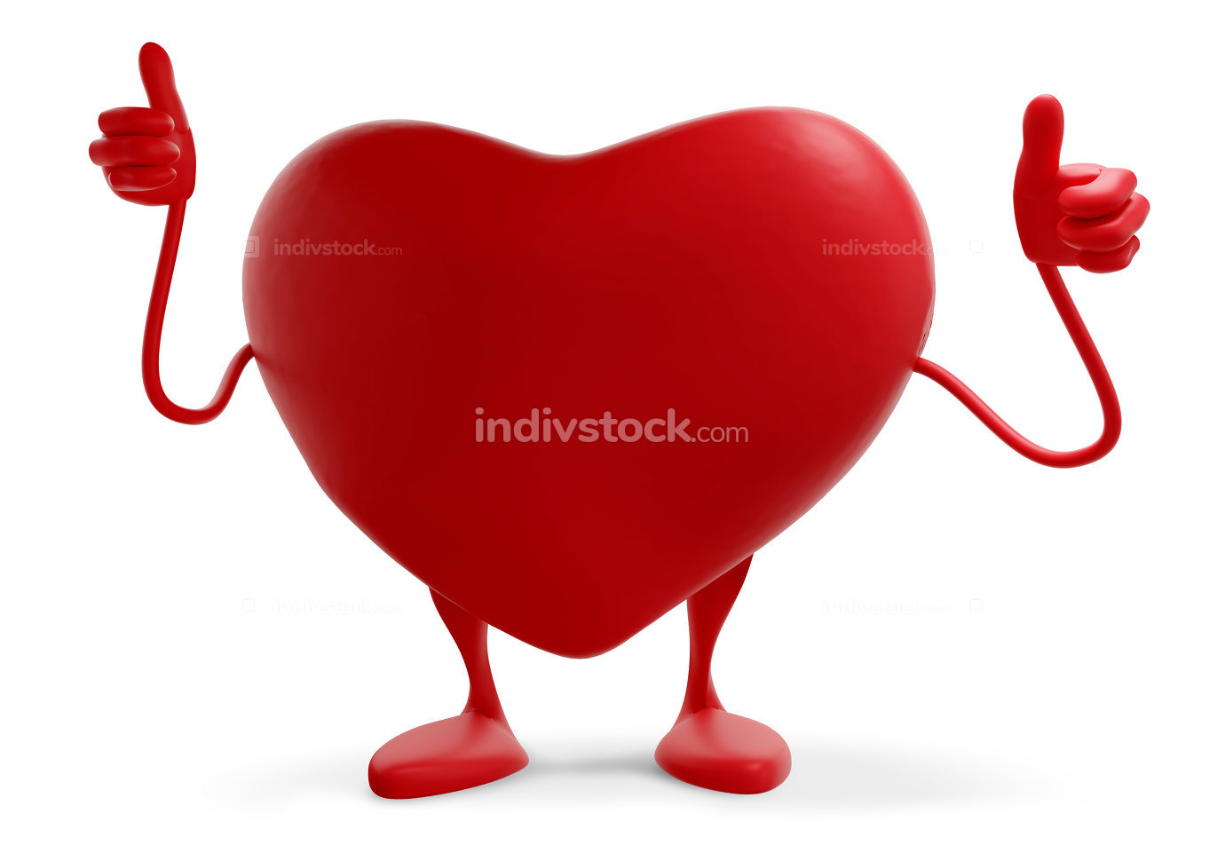 red heart thumbs up figure mascot 3d-illustration