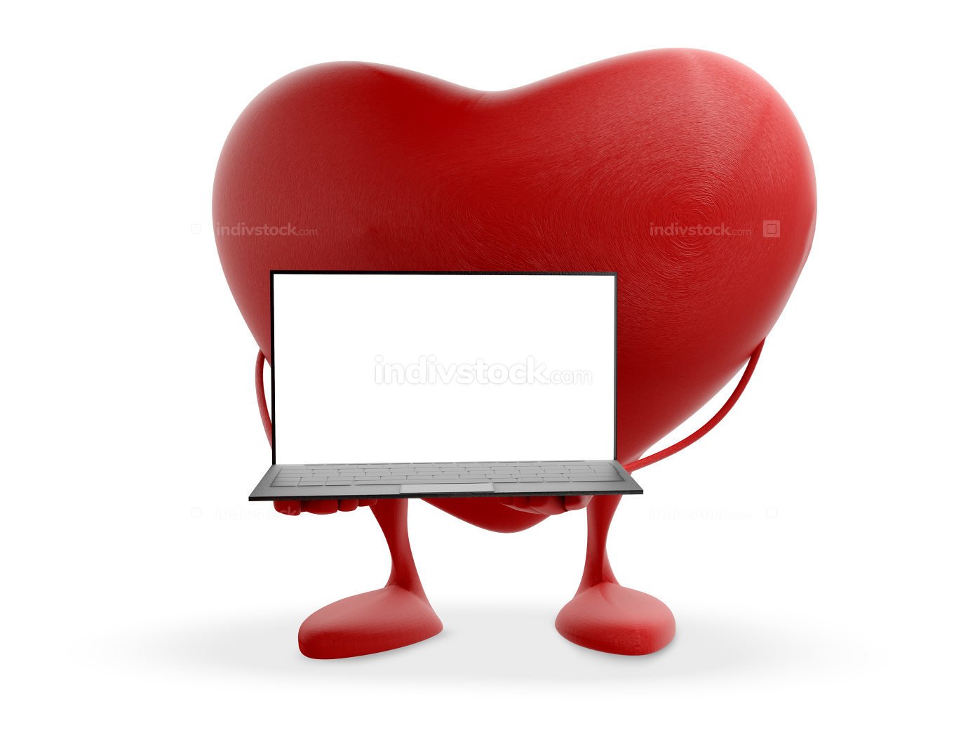 red heart with computer 3d-illustration