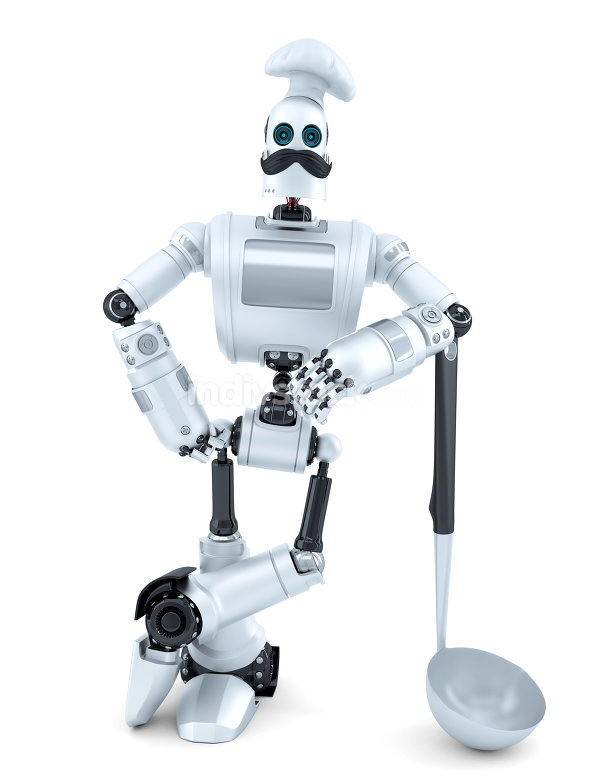 Robot Chef posing with soup ladle. 3D illustration. Isolated. Co
