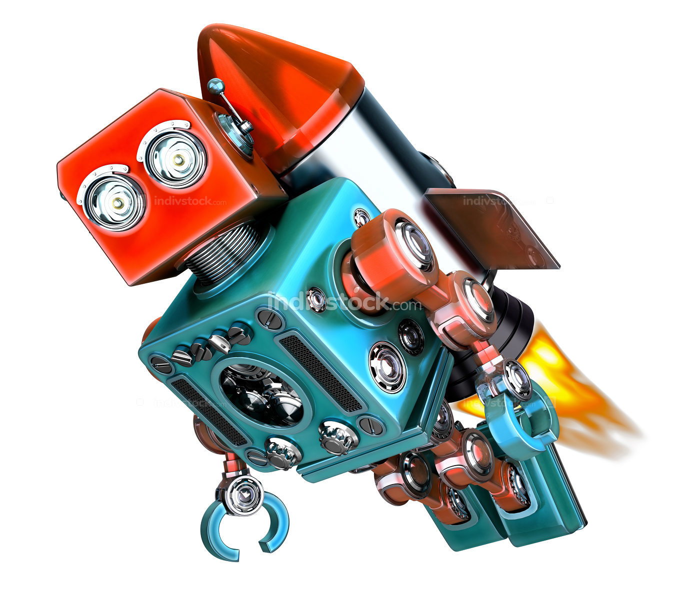 Robot fly on rocket. Start up concept. 3d illustration. Isolated