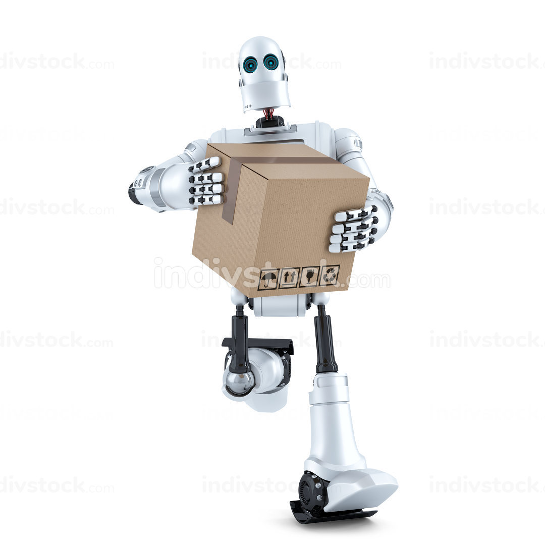Robot runs with huge parcel box. Isolated. Contains clipping path