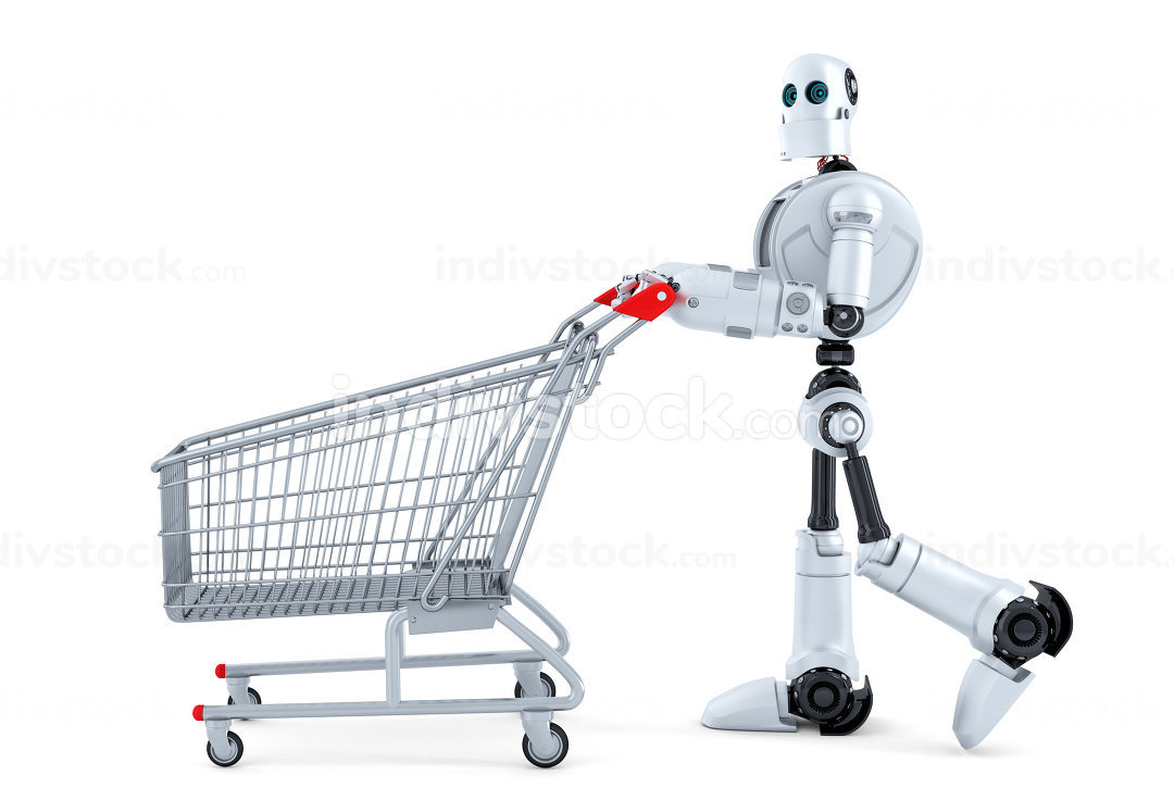 Robot walking with shopping cart. Isolated. Contains clipping path