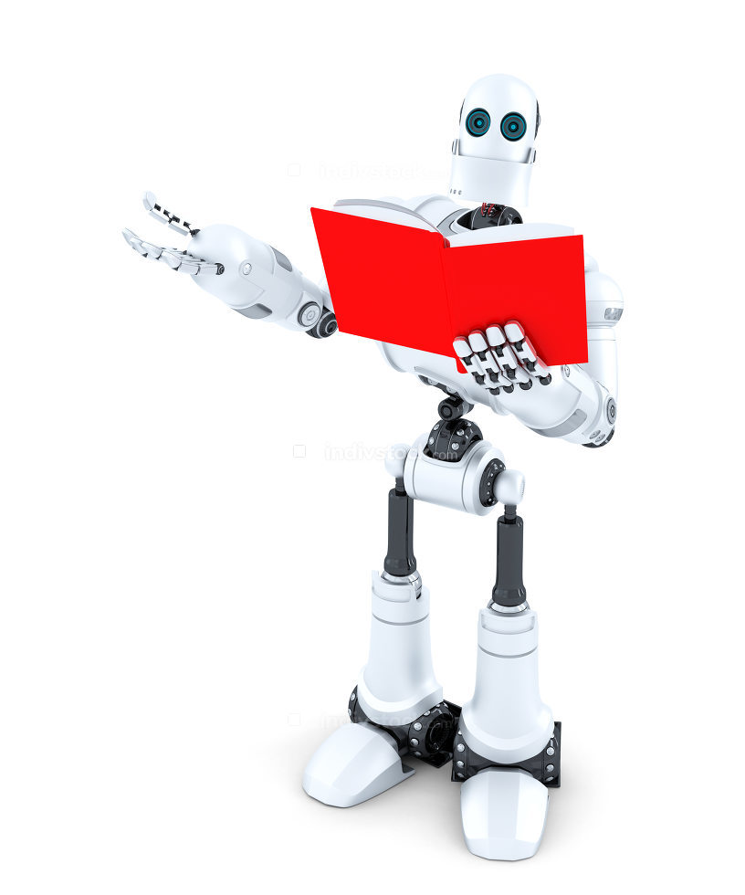 Robot with book. Isolated. Contains clipping path