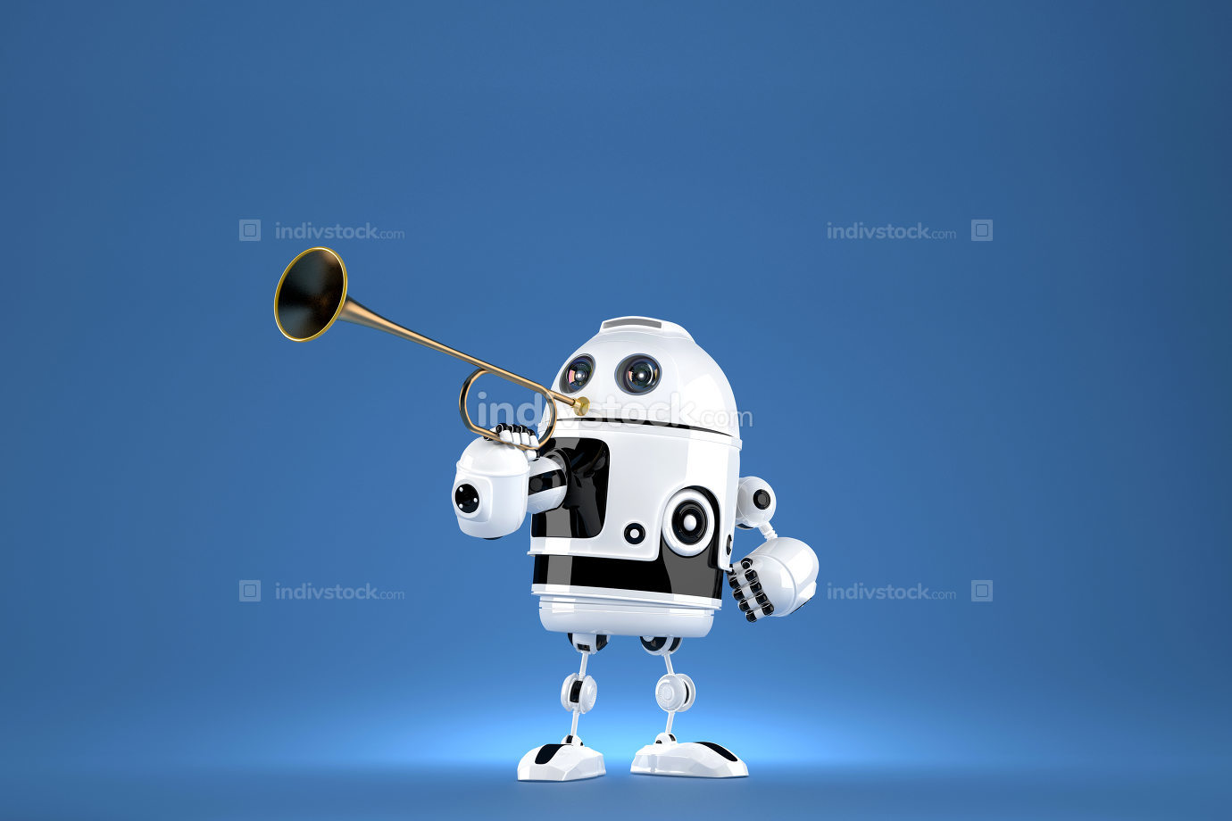 Robot with golden trumpet. 3D illustration. Proclaiming a special occasion. Contains clipping path