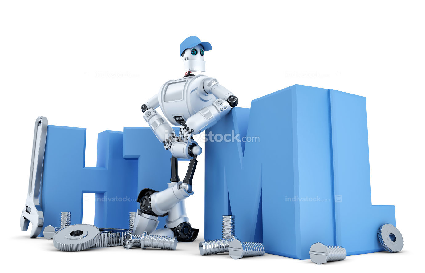 Robot with HTML sign. Technology concept. Isolated. Containsclipping path
