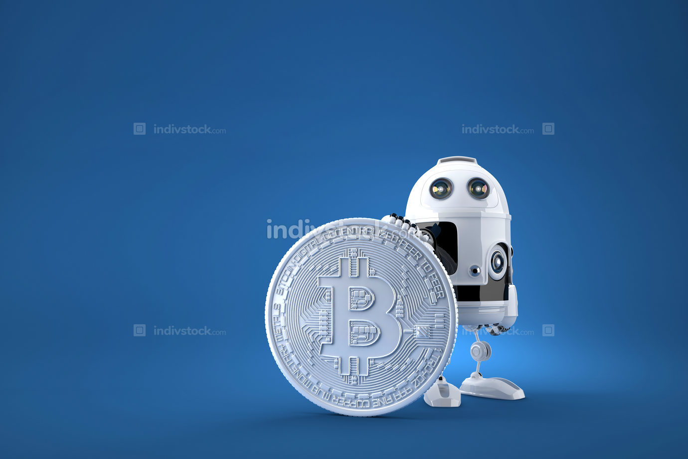 Robot with huge bitcoin coin. Technology concept.