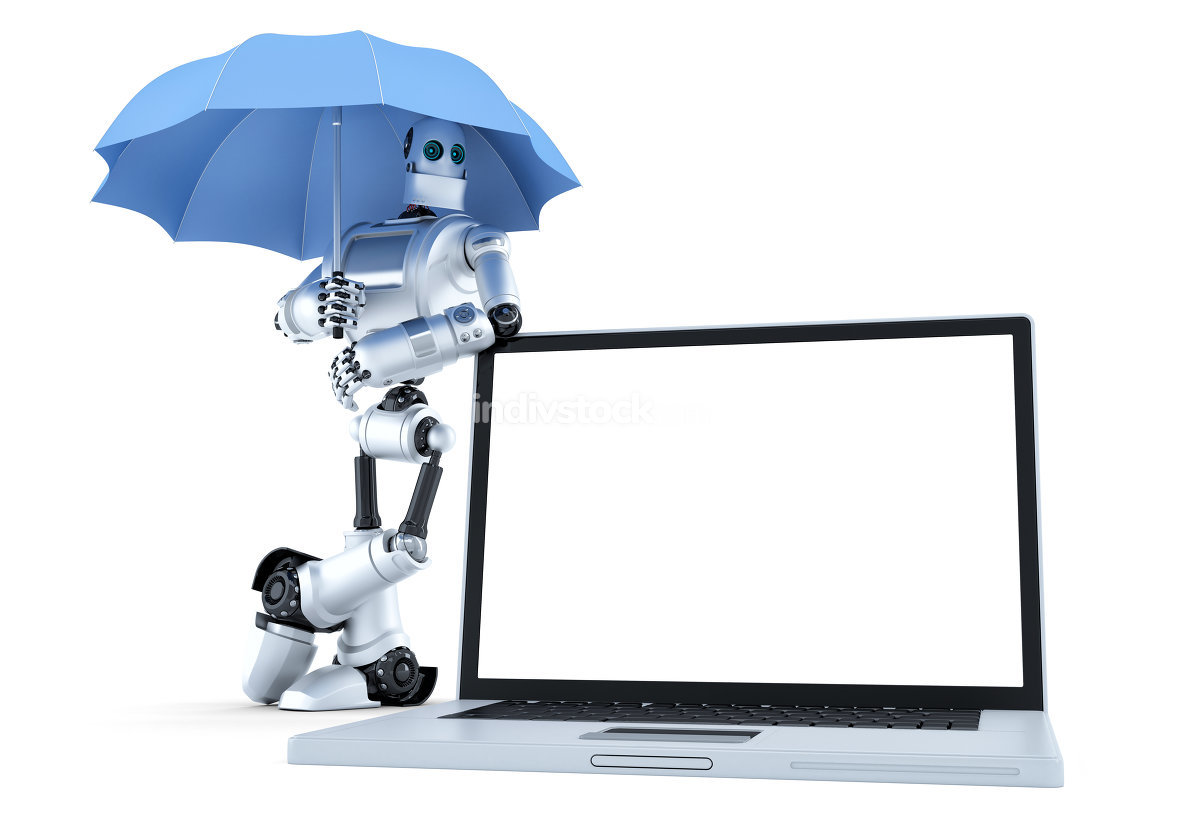 Robot with laptop under umbrella. Digital protection concept. Isolated. Contains clipping path