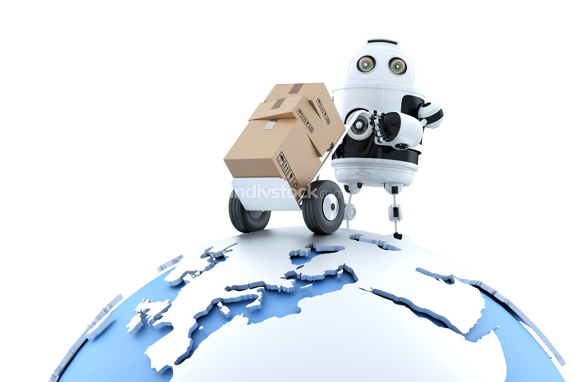Robot with parcel. Global delivery service. Isolated with clipping path