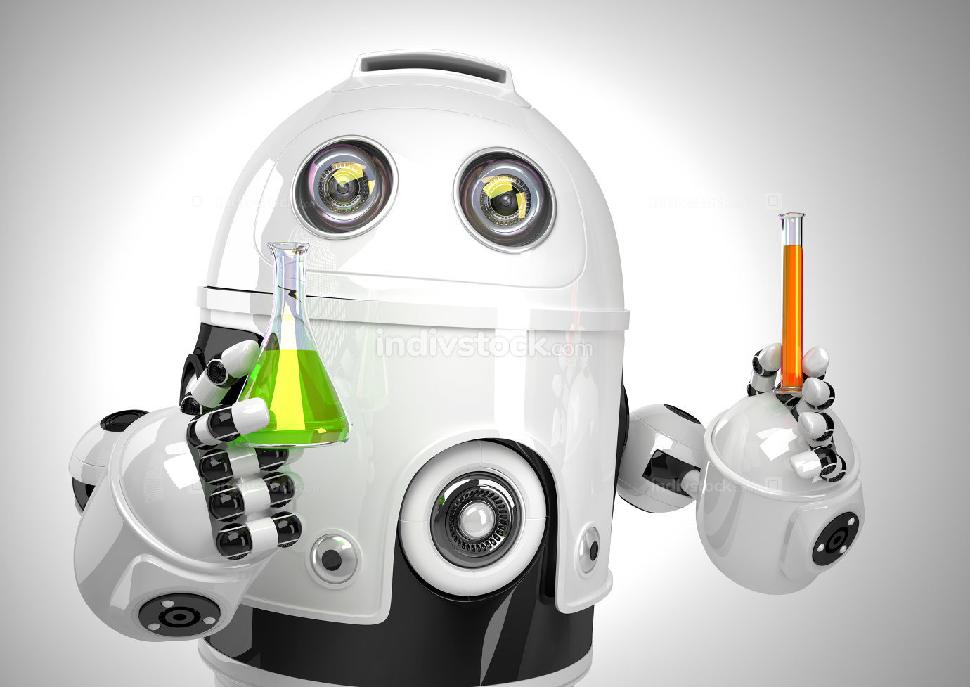 Robot with test tube and flask. Chemical analysis concept. Contains clipping path