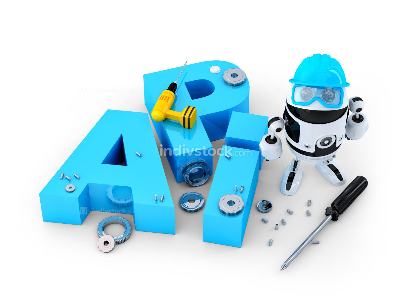 Robot with tools and application programming interface sign. Technology concept