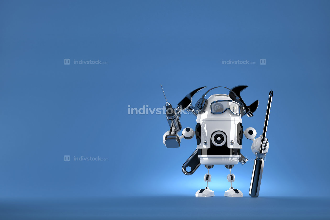 Robot worker. Contains clipping path