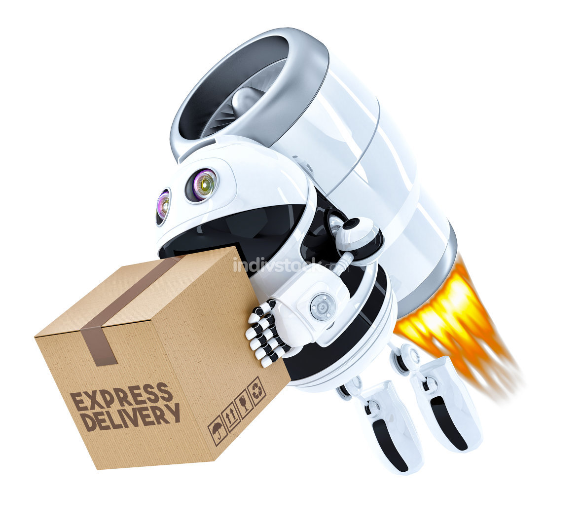 Rocket Delivery Robot flying with package. Isolated. Contains cl