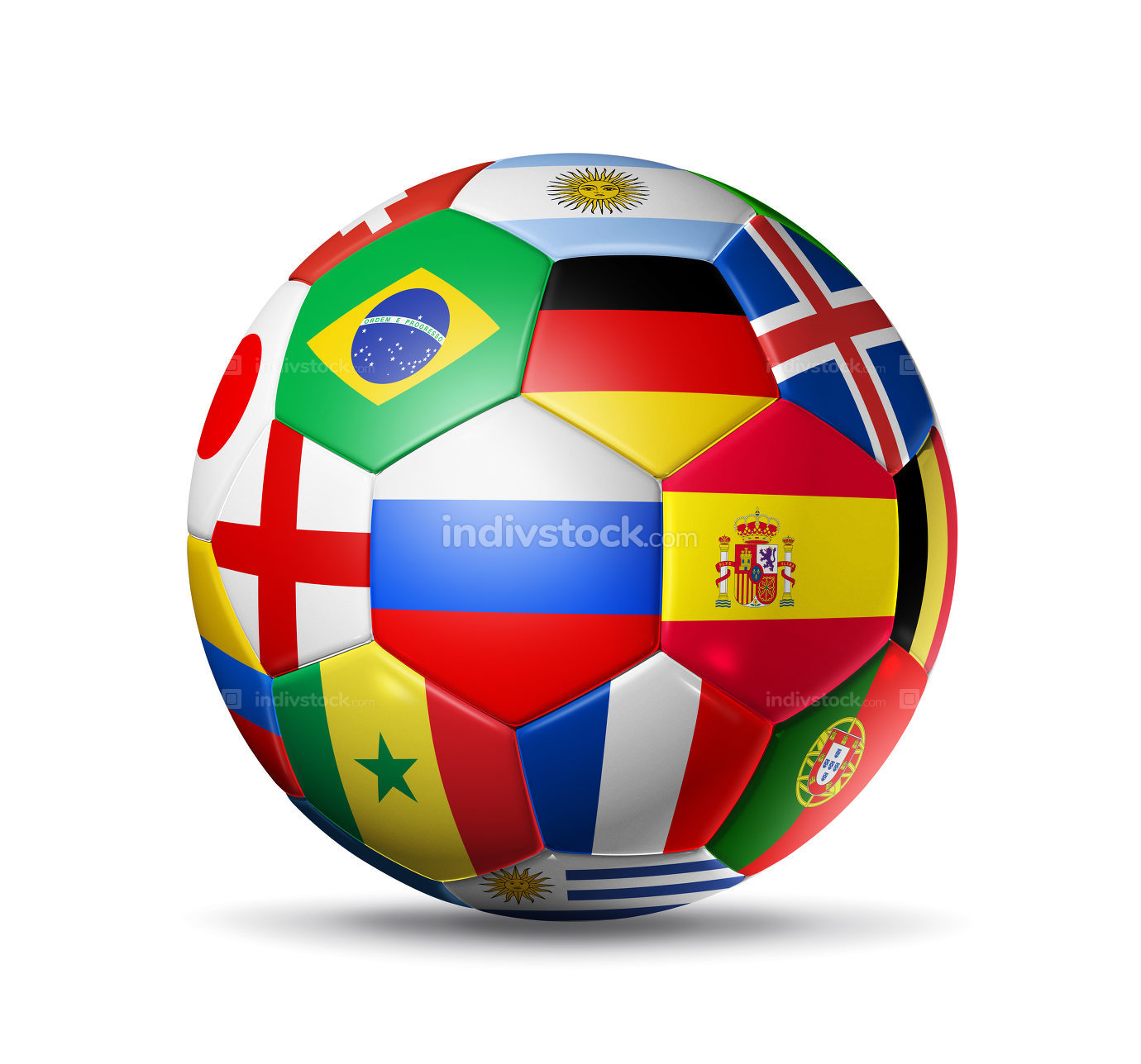 Russia 2018. Football soccer ball with team national flags on wh