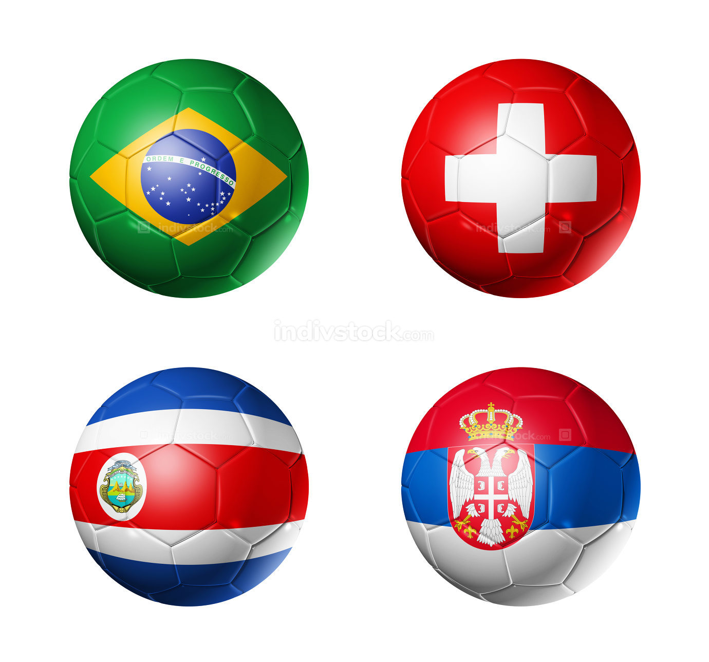 Russia football 2018 group E flags on soccer balls