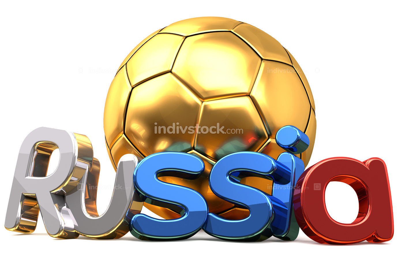 Russia golden soccer football 3d rendering