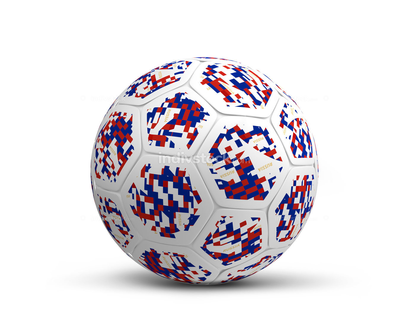 Russia russian color dsign soccer football ball design 3d render