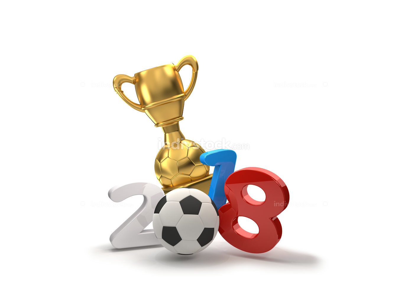 Russia soccer ball trophy symbol 3d illustration