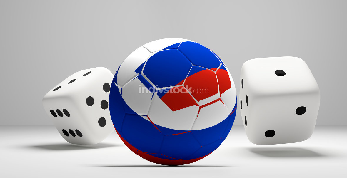 russian colored soccer football ball and rolling dices white 3d