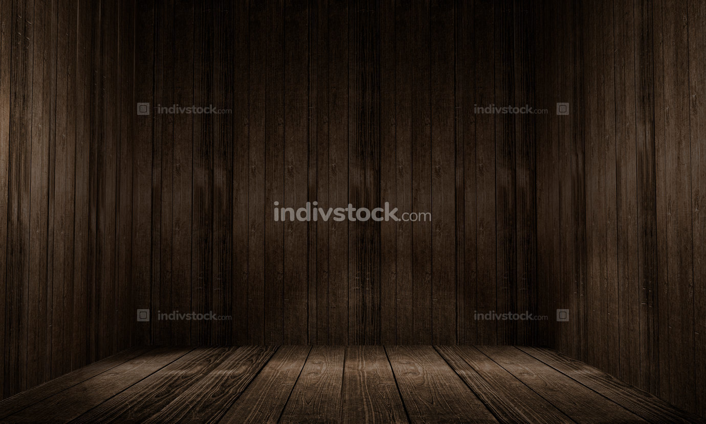 Rustic wooden room indoor background 3d illustration