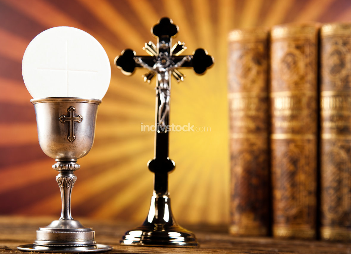 Sacrament of communion, bright background, saturated concept