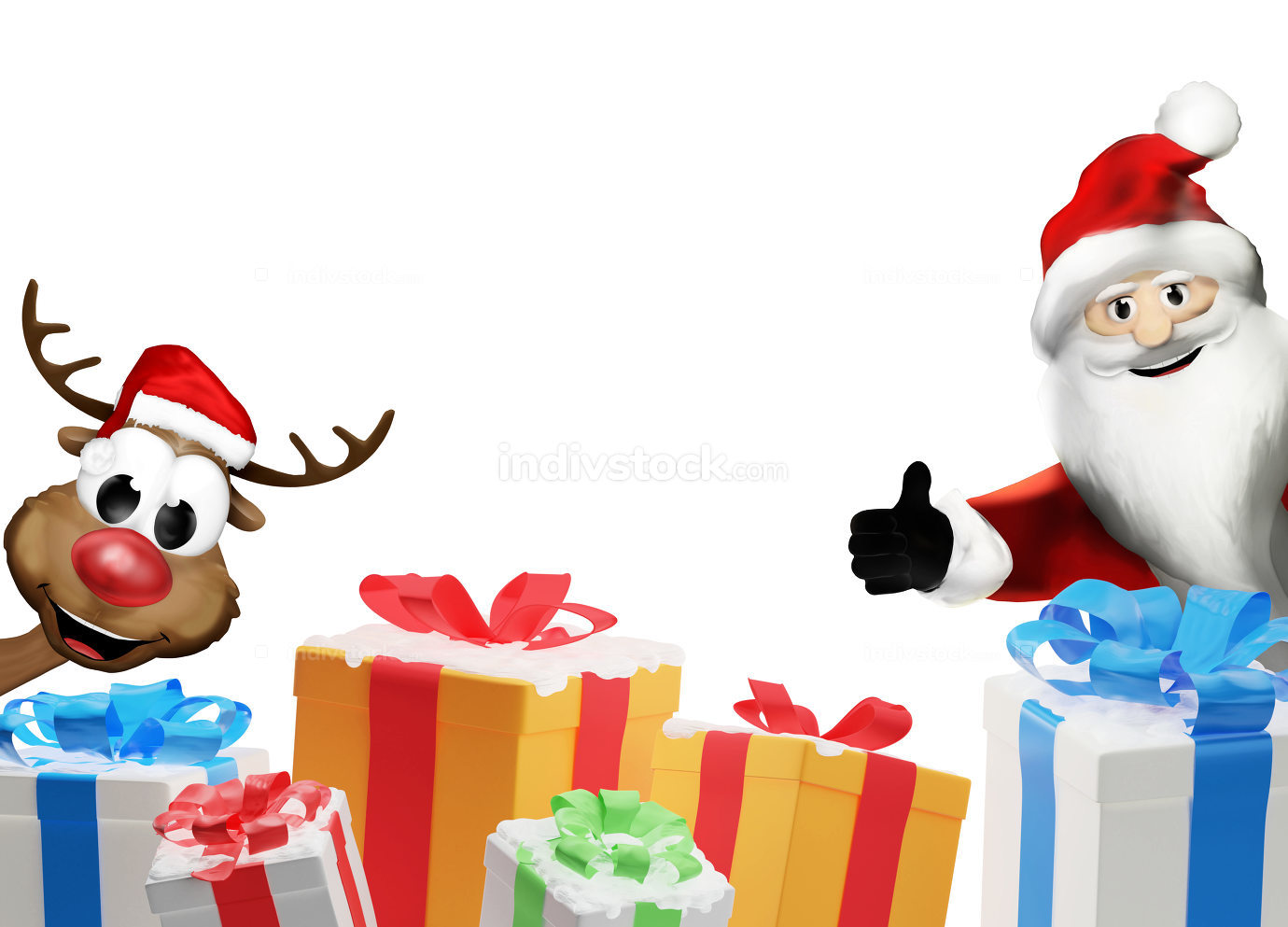 Santa Claus and Reindeer with a pile of christmas presents with