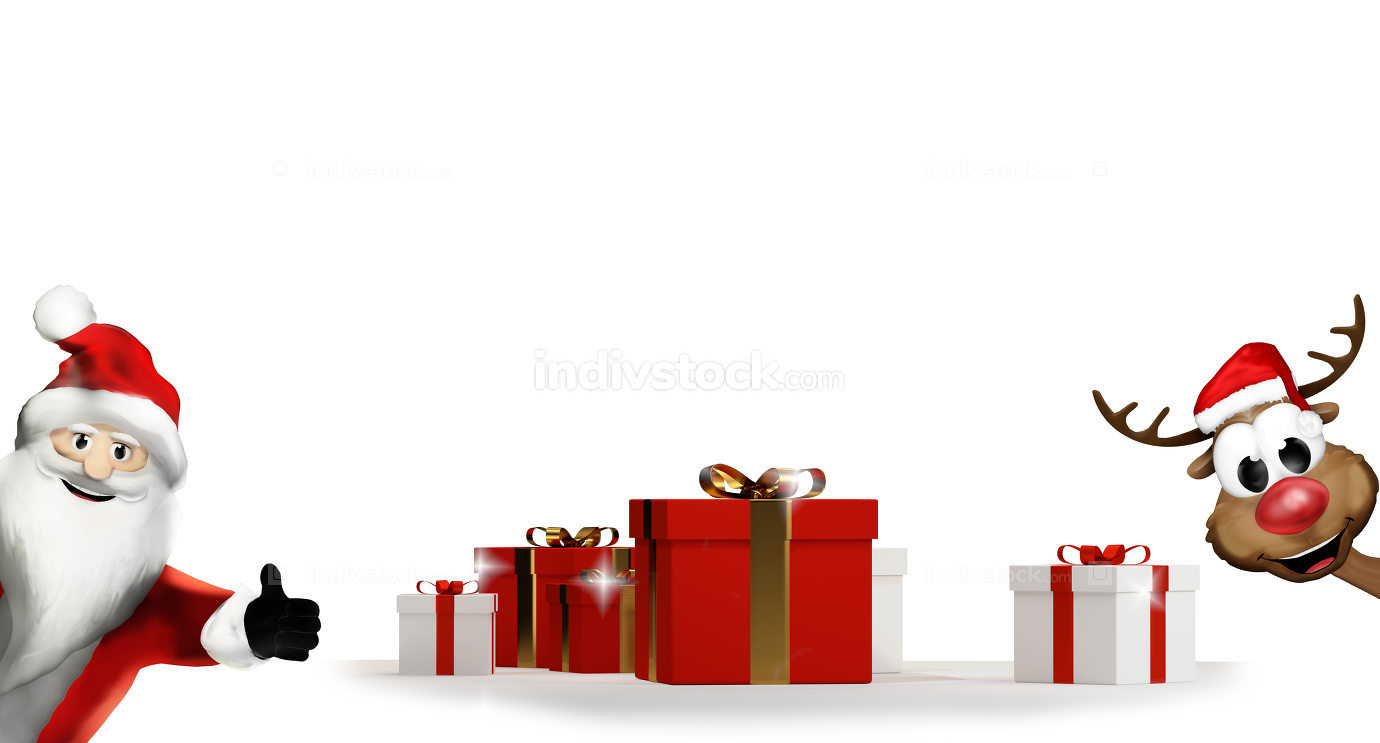 santa claus and reindeer with gift boxes 3d-illustration